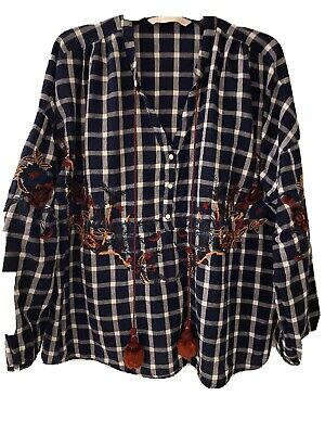 $24.99 • Buy Zara Womens Small Floral Embroidered Red Navy Plaid Half Button Up Shirt Top