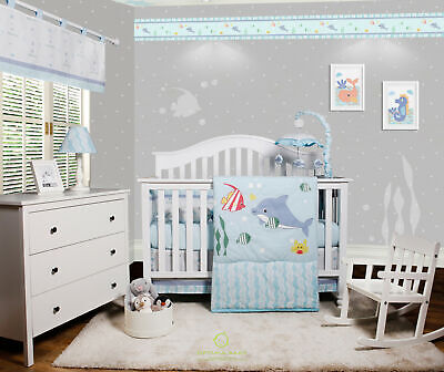 $74.99 • Buy OptimaBaby 7PCS Ocean Sea Dolphin Baby Bedding Sets With  With Musical Mobile