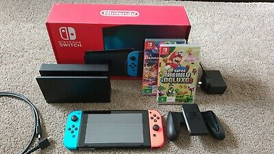 AU450 • Buy Nintendo Switch Neon Blue And Red Joy‑con With 2 Games