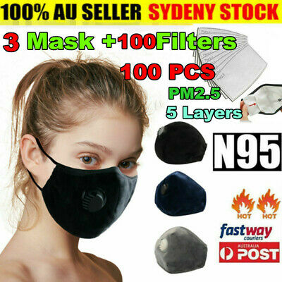 AU22.40 • Buy 2x Washable & Reusable Cotton Fabric Face Mask W/ Respirator & 50x PM2.5 Filters