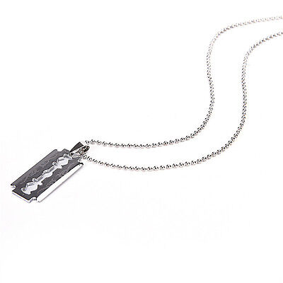 £2.10 • Buy 1 X Razor Blade Necklace Silver Stainless Steel Pendant Dog Tag Chain Best FadBE