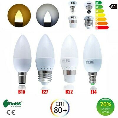 1-8 Pack B22 B15 LED Candle Light Bulbs Warm/Cool White Energy Saving UK 5W=40w • 3.99£
