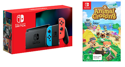 AU489 • Buy Nintendo Switch Neon Blue And Red Joy-Con Console + Animal Crossing New Horizons