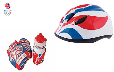 Cycling Team GB Safety Knee/Elbow Water Bottle & Helmet 46-52cm Union Jack Set • 14.99£