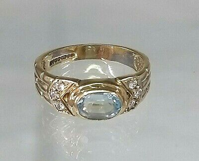 Vintage 9ct Gold Faux Diamond & Blue Topaz Band Style Ring Stunning! REAL GOLD • 115£