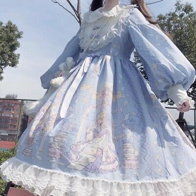 Japanese Girl Daily Sweet Princess Dress Lolita Long Sleeve Skirt Lace Bow Ting1 • 30.81£