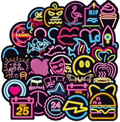 100PCS Neon Sign Stickers Bomb Graffiti Decal Pack Laptop Car Luggage Skateboard • 3.99£