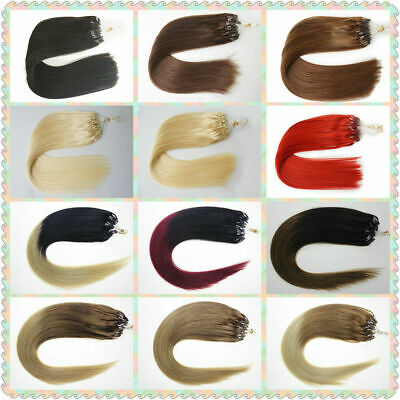 £21.33 • Buy Micro Ring Beads Link Hair Extensions Double Drawn Remy Human Hair Straight 1g/s