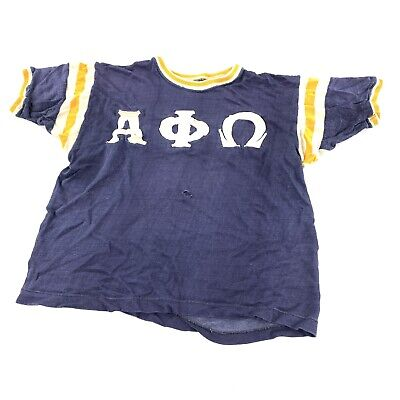 $ CDN69.74 • Buy Vintage 50s 1950s Russel Single Stitch Fraternity T Shirt Ringer Alpha Phi Omega