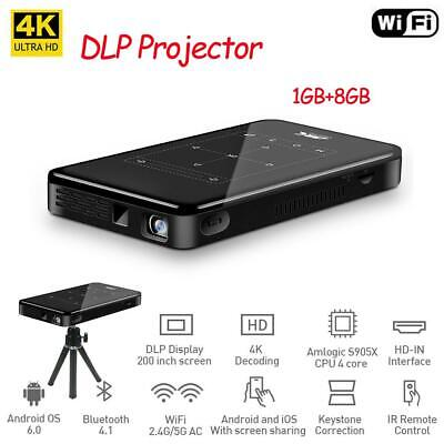 AU312.44 • Buy Mini 4K WiFi BT Smart DLP Projector Android 8G Home Theater Cinema Pocket HDMI