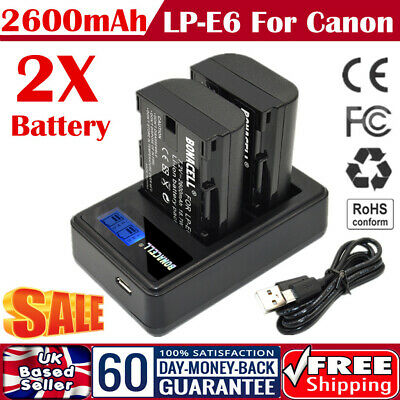 2x LP-E6 Battery & USB Dual Charger For Canon EOS 80D 70D 7D 60D 5D Mark II III • 17.49£