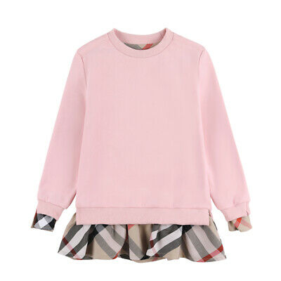 Girls Checked Plaid Lattice T Shirt Dress Long Sleeved Hoodie Top Blouse Outfits • 14.99£