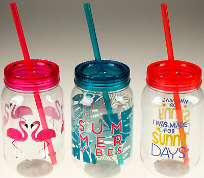 £10.99 • Buy Set Of 3 Plastic Drinking Cups Mason Jars With Lid And Straw Flamingo,PalmSummer