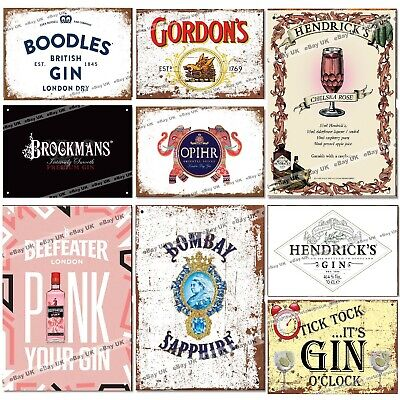 GIN Metal Retro Tin Signs Pubs Bars Man Cave Kitchen Vintage Wall Poster Gift • 6.95£