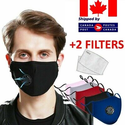 $ CDN9.99 • Buy Reusable Washable Cloth Face Mask W/ Air Valve + FREE 2 PM2.5 Carbon Filters