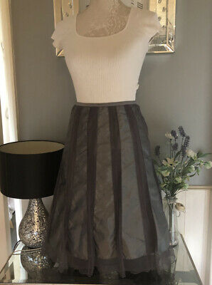 Definitions Skirt Size 20 Grey Satin And Net Panelled • 7£
