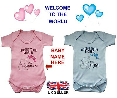 Personalised Baby Grow Vest Bodysuit Welcome To The World Name Boy Girl Gift New • 7.99£