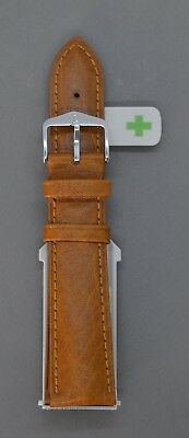 New Hirsch Camelgrain Brown Leather Watch Strap New Fast Fit Spring Pins • 40£