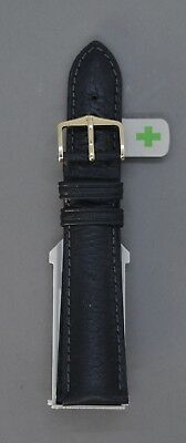 New Hirsch Camelgrain Black Leather Watch Strap Fast Fit Spring Pins • 40£