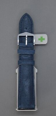 New Hirsch Camelgrain Blue Leather Watch Strap Fast Fit Spring Pins • 40£