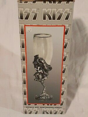 $43.95 • Buy KISS GLASS PEWTER WINE GOBLET NEW 1998 With Certificate Gene Simmons VERY RARE