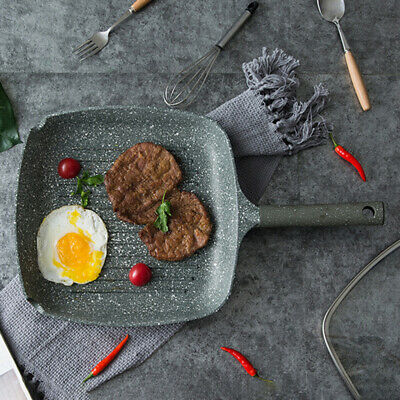 Griddle Frying Pan Grill Cast Iron Non Stick Skillet Cooking Fry Square Steak • 19.09£