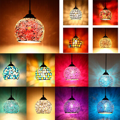 Retro Mosaic Chandelier Glass Lamp Shade Hanging Light For Bar Cafe Art Gallery • 21.80£