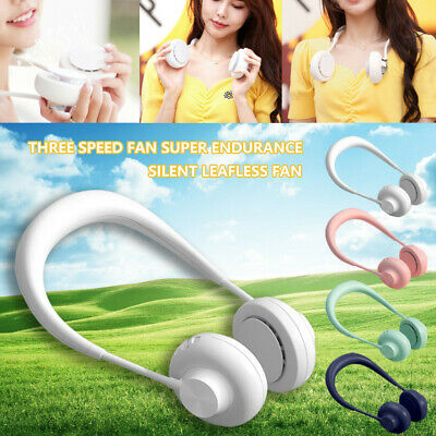 AU49.30 • Buy Leafless Fan USB Rechargeable Neckband Lazy Neck Hanging Style Dual Cooling Fan