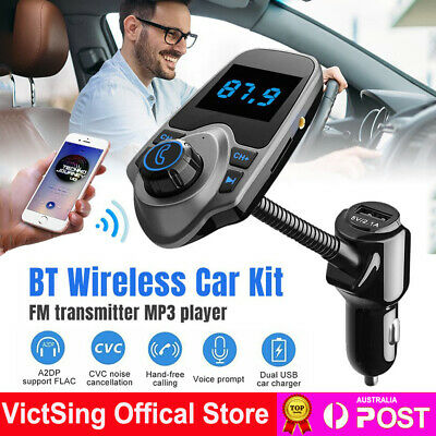 AU21.84 • Buy Bluetooth Car Kit FM Transmitter Radio MP3 Player USB Charger Wireless Handsfree