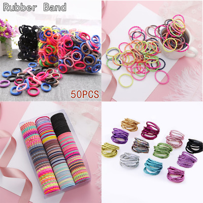 $0.99 • Buy 50PC Black Colorful Elastic Hair Band Ring Headwear Rubber Bands Ponytail Holder