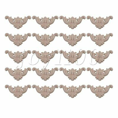 AU14.31 • Buy 10 Pair Unpainted Wooden Carved Applique Furniture Mouldings Decal Onlay Decor