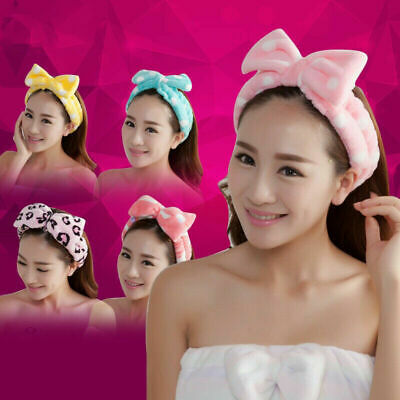 $0.99 • Buy Women Bow Knot Soft Makeup Hair Band Headband Cute Head Wrap Towel Bath Spa Face