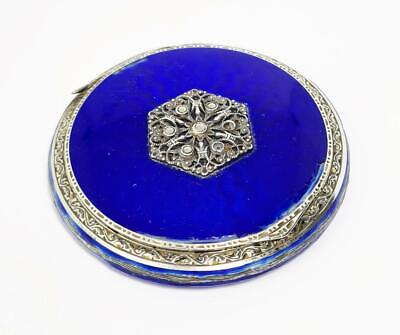 ART DECO STERLING SILVER & GUILLOCHE ENAMEL POWDER COMPACT London Import 1928 • 165£