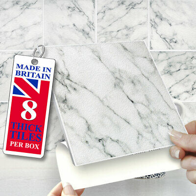 Stick On Wall Tiles | Pack Of 8 Natural Marble 6 X6  Self Adhesive Wall Tiles  • 12.99£