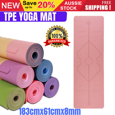AU31.75 • Buy TPE Yoga Mat Block Fitness Gym Exercise Pilates Non Slip Mat Durable Eco Thick
