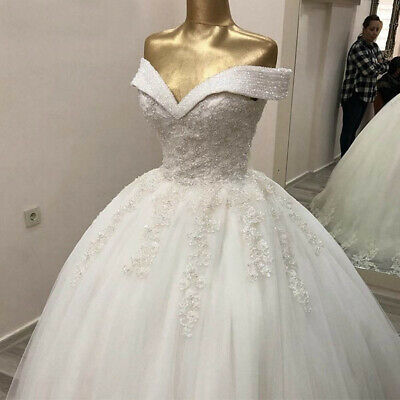 $ CDN174.32 • Buy Wedding Dresses Crystal Beading Court Train Off The Shoulder Lace Up Back Gown
