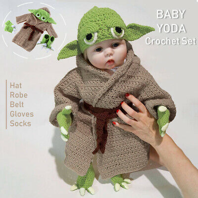 Star Wars Master Yoda Newborn Baby Knitted Crochet Costume Photo Prop Outfit Set • 14.99£
