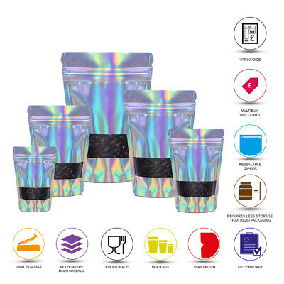 Window Holographic Heat Sealable Stand Up Pouche Food Grade Smell Proof Bag • 1.99£