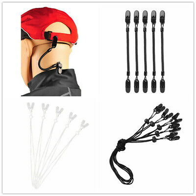 5Pcs Cap Strap Hat Retainer Wind Cord Chin Strap Clip Holder Motorcycle Boating  • 5.79£