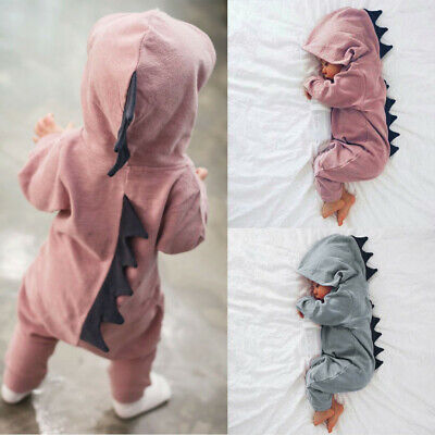 AU17.12 • Buy Newborn Infant Baby Boys Girls Dinosaur Hooded Romper Jumpsuit Outfits Clothes