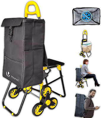 £59.01 • Buy Foldable Shopping Trolley With Seat Grocery Cart Three Wheeled Stair Climbing