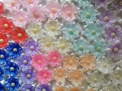 Satin/ Organza Ribbon 5cm Flowers Applique Decoration DIY Scrapbookin Sewing  • 3.99£