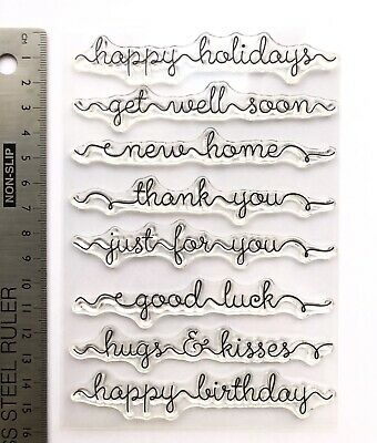 Clear Rubber Stamps Words Birthday Get Well  Home Luck Christmas Thanks • 5.59£