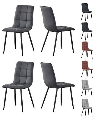 £124.99 • Buy Set Of 4 Faux Matte Suede Leather Dining Chairs  Home & Restaurants Henri