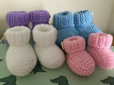 Hand Knitted Booties Pram Shoes Button Cuff Tiny Baby To 3 Mths Reborn • 4.75£