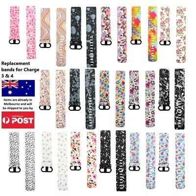 AU8.95 • Buy Patterned Replacement Band - Fitbit Charge 3 4 Silicone Watch Wrist Sports Strap