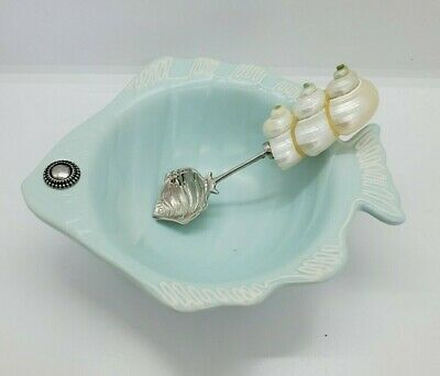 Mud Pie Fish Bowl Sea Shell Spoon Light Blue Dip Sauce Salsa Trinket • 10.68£