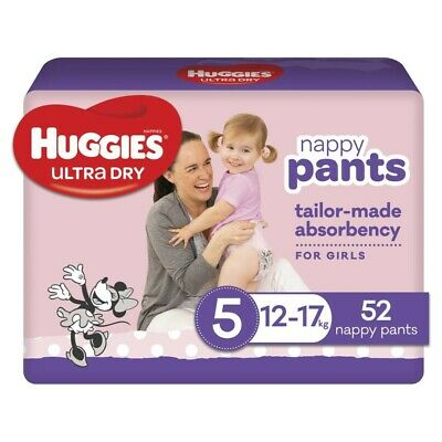 AU27 • Buy Huggies Ultra-Dry Nappy Pants For Girls 12-17 Kg Size 5 52 Pack