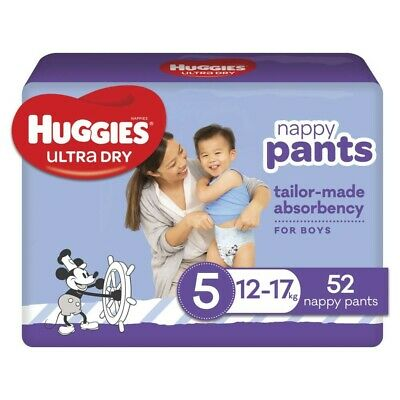 AU25 • Buy Huggies Ultra-Dry Nappy Pants For Boys 12-17 Kg Size 5 52 Pack
