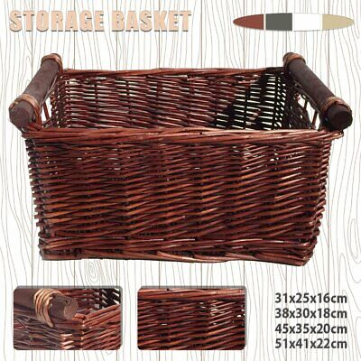 Size S/M/L/XL Wicker Storage Basket Washing Clothes Basket Hamper Picnic Basket • 10.99£